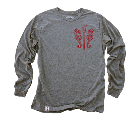 Seahorses & Tridents ll: Tri-Blend Long Sleeve T-Shirt in Heather Grey