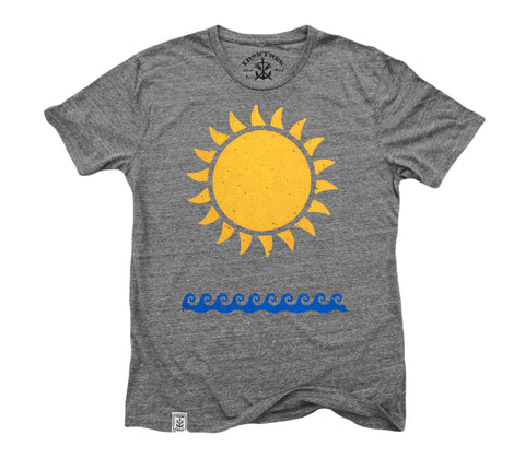 Sun & Waves: Tri-Blend Short Sleeve T-Shirt in Tri Vintage Grey