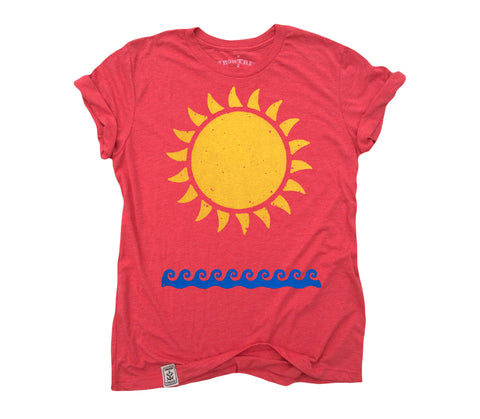 Sun & Waves: Tri-Blend Short Sleeve T-Shirt in Tri Red