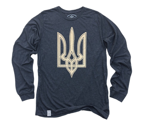 Trident: Tri-Blend Long Sleeve T-Shirt in Charcoal-Black