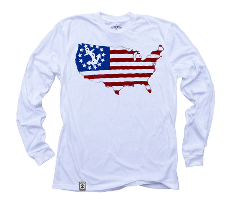 USA Silhouette Yacht Ensign: Organic Fine Jersey Long Sleeve T-Shirt in White
