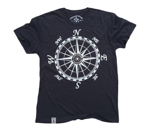 Mariner's Compass: Organic Fine Jersey Short Sleeve T-Shirt in Black