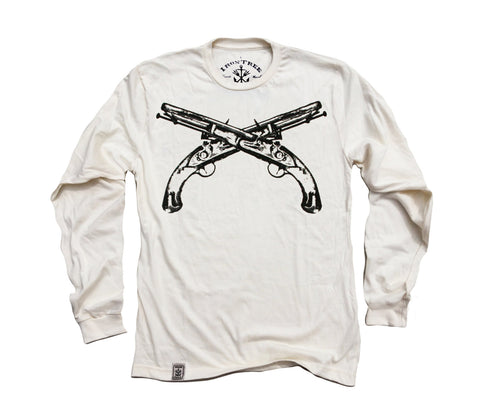Flintlock Pistols Crossed: Organic Fine Jersey Long Sleeve T-Shirt in Unbleached Natural