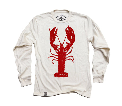 Rock Lobster: Organic Fine Jersey Long Sleeve T-Shirt in Unbleached Natural