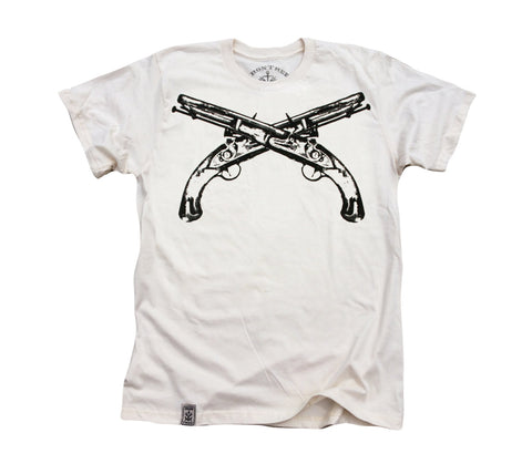 Flintlock Pistols Crossed: Organic Fine Jersey Short Sleeve T-Shirt in Unbleached Natural