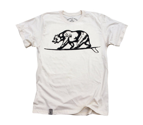 Cali Bear Surfing: Organic Fine Jersey Short Sleeve T-Shirt in Unbleached Natural