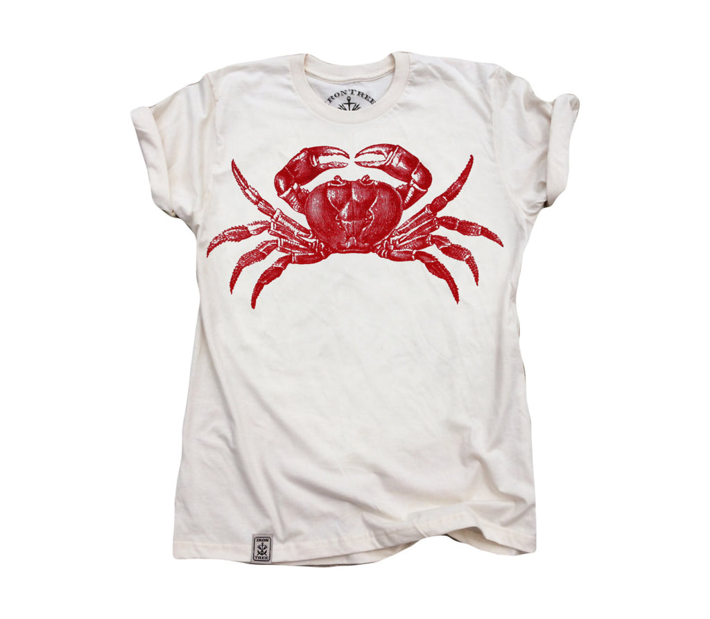 Red Crab: Organic Fine Jersey Short Sleeve T-Shirt in Unbleached Natural