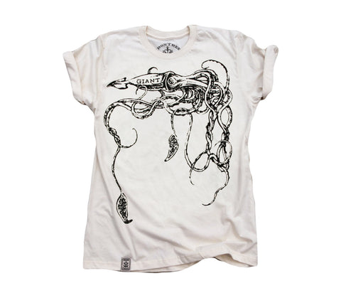 The Giant Squid: Organic Fine Jersey Short Sleeve T-Shirt in Unbleached Natural