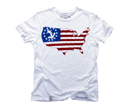 US Map Yacht Ensign: Organic Fine Jersey Short Sleeve T-Shirt