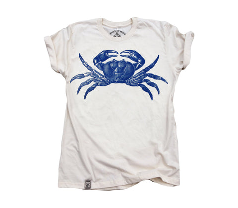 Maryland Blue Crab: Organic Fine Jersey Short Sleeve T-Shirt in Unbleached Natural