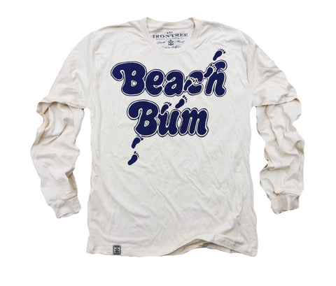 Beach Bum: Organic Fine Jersey Long Sleeve T-Shirt in Unbleached Natural
