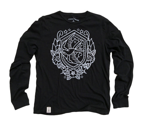 Nautical Swallow: Organic Fine Jersey Long Sleeve T-Shirt