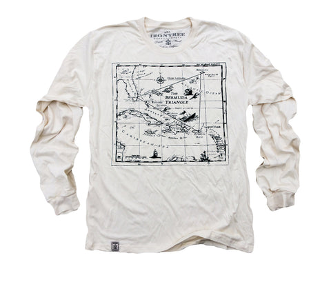 Bermuda Triangle: Organic Fine Jersey Long Sleeve T-Shirt in Unbleached Natural
