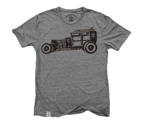 Rat Rod Woody: Tri-Blend Short Sleeve T-Shirt in Tri Vintage Grey
