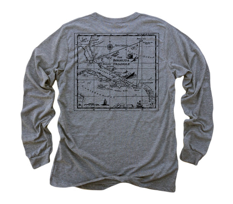 Bermuda Triangle ll: Tri-Blend Long Sleeve T-Shirt in Heather Grey