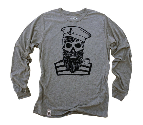 Blackbeard's Ghost: Tri-Blend Long Sleeve T-Shirt in Heather Grey