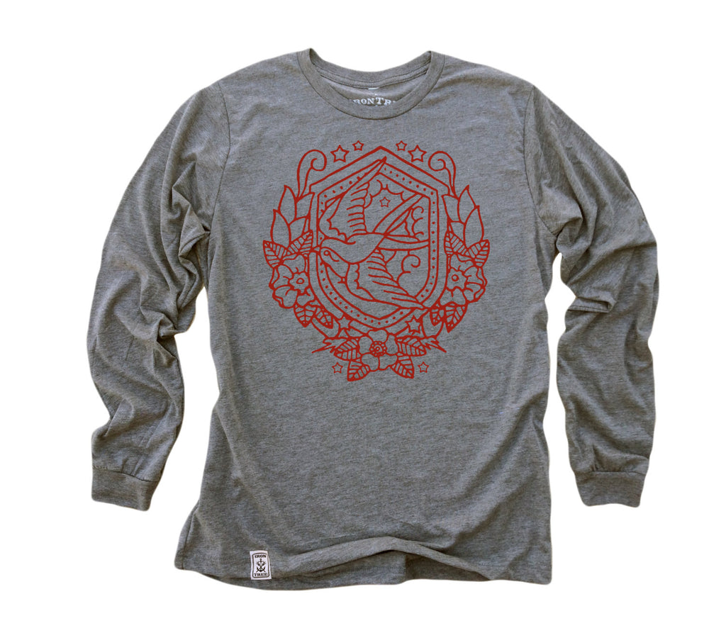 Nautical Swallow: Tri-Blend Long Sleeve T-Shirt in Heather Grey w/ Red ink