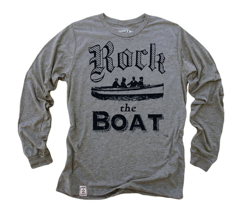 Rock the Boat: Tri-Blend Long Sleeve T-Shirt in Heather Grey