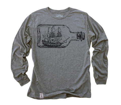 Ship in a Bottle: Tri-Blend Long Sleeve T-Shirt in Heather Grey