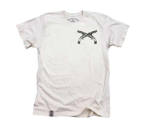 Flintlock Pistols Crossed ll: Organic Fine Jersey Short Sleeve T-Shirt in Unbleached Natural