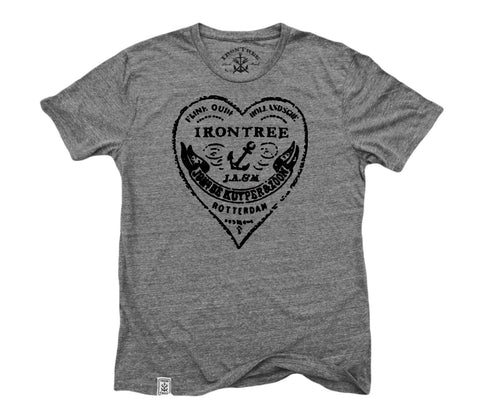 The Heart of Rotterdam: Tri-Blend Short Sleeve T-Shirt in Tri Vintage Grey w/ Black ink