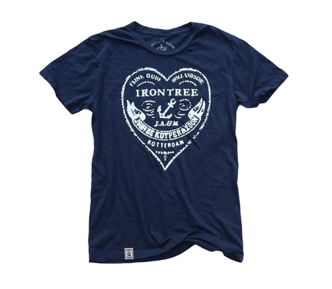 The Heart of Rotterdam: Fine Jersey Short Sleeve T-Shirt in Navy