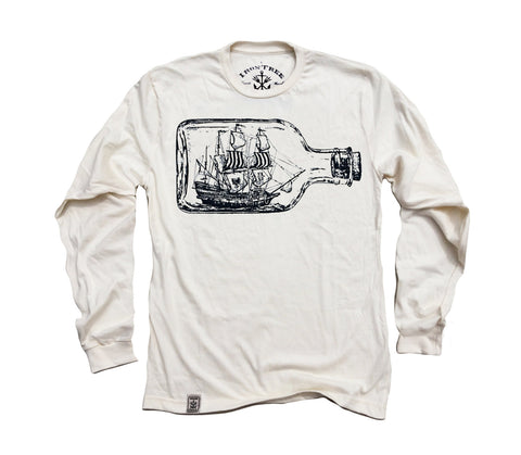 Ship in a Bottle: Organic Fine Jersey Long Sleeve T-Shirt in Unbleached Natural