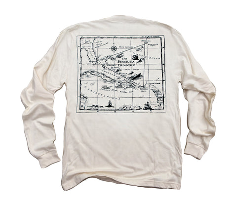Bermuda Triangle ll: Organic Fine Jersey Long Sleeve T-Shirt in Unbleached Natural