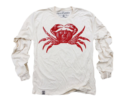 Red Crab: Organic Fine Jersey Long Sleeve T-Shirt in Unbleached Natural