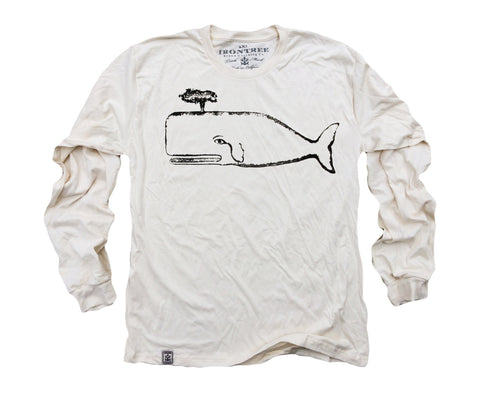 The Great Whale: Organic Fine Jersey Long Sleeve T-Shirt in Unbleached Natural