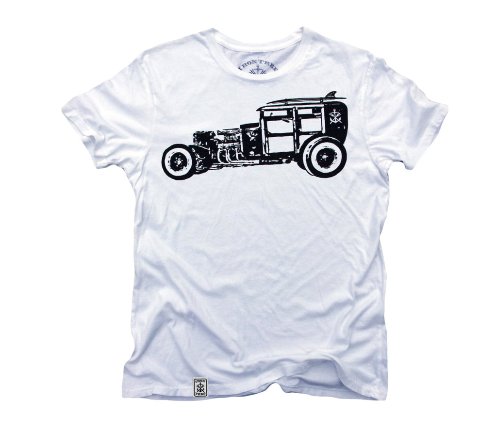 Rat Rod Woody: Organic Fine Jersey Short Sleeve T-Shirt in White