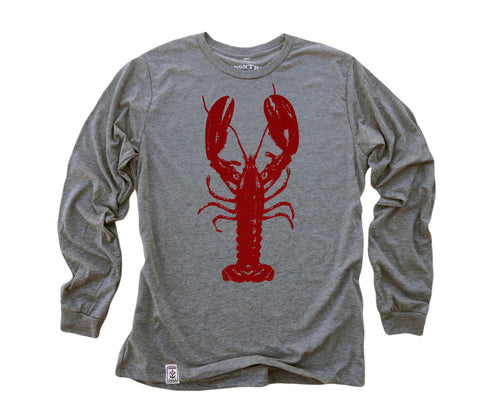 Rock Lobster: Tri-Blend Long Sleeve T-Shirt in Heather Grey