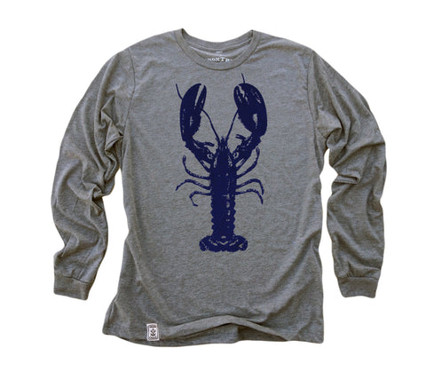 Blue Lobster: Tri-Blend Long Sleeve T-Shirt in Heather Grey
