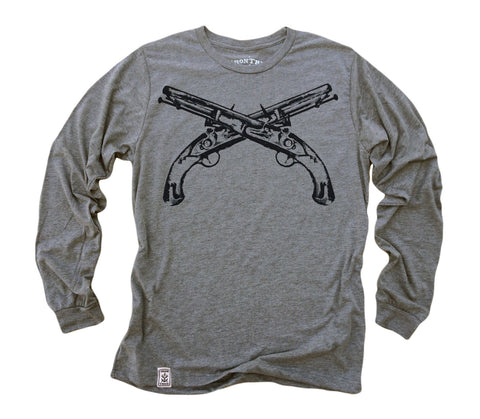 Flintlock Pistols Crossed: Tri-Blend Long Sleeve T-Shirt in Heather Grey