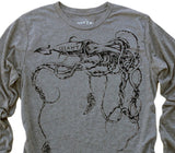 The Giant Squid: Tri-Blend Long Sleeve T-Shirt in Heather Grey