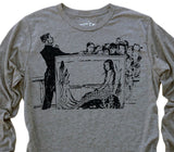 Mermaid Aquarium: Tri-Blend Long Sleeve T-Shirt in Heather Grey