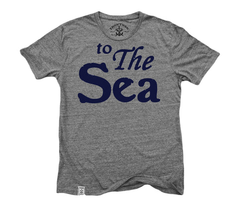 to The Sea: Tri-Blend Short Sleeve T-Shirt in Tri Vintage Grey, Navy ink