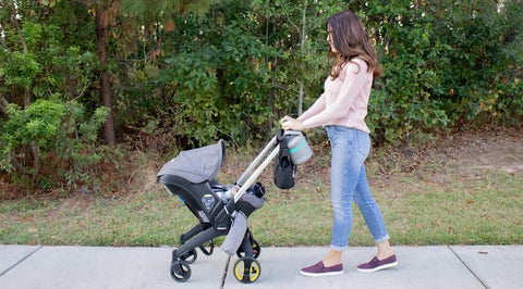 Mom walking with stroller