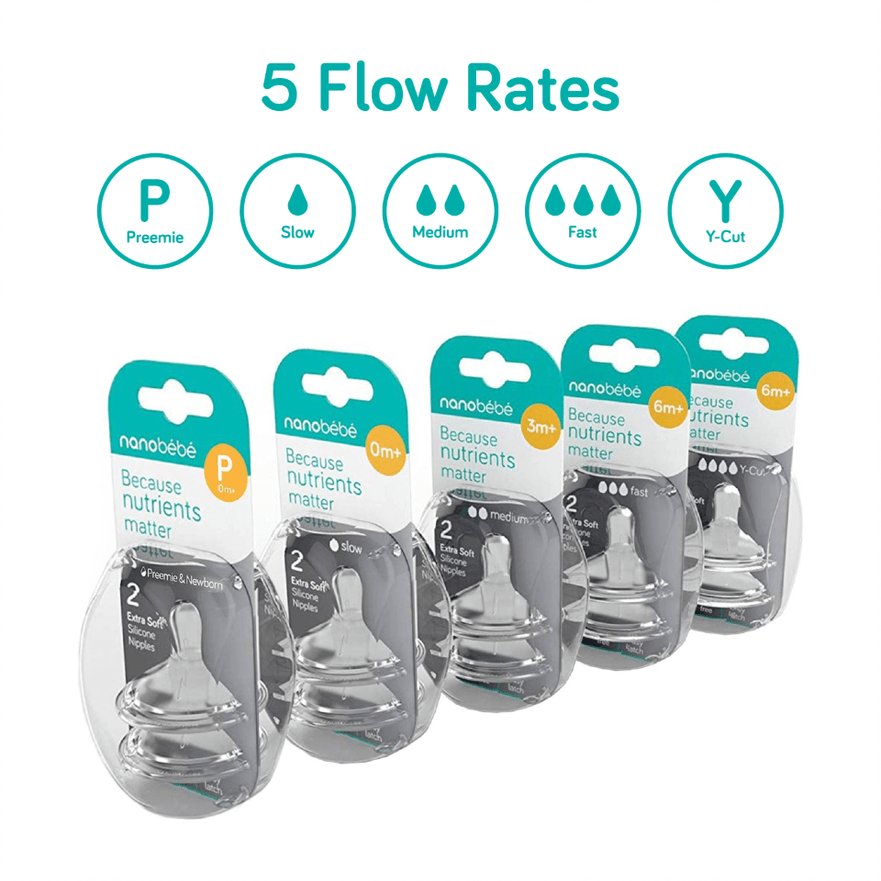 nanobébé Baby Bottle Nipples, 5 Flow Rates, 2-Pack