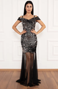 Izabella Sequin Dress with Sheer Skirting