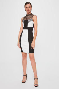 Novah Black and White Block Party Dress