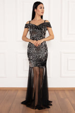 Load image into Gallery viewer, Izabella Sequin Dress with Sheer Skirting