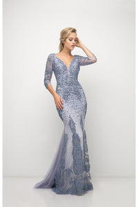 Wholesale Long Sleeves Beaded Mother Of The Bride Dress Gown CD6481-Mother of the Bride Dresses | Smcfashion.com-smcfashion.com