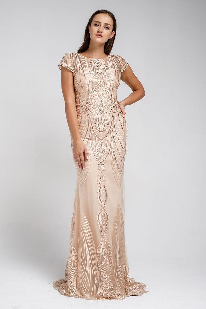 Celebrity Beaded Sheath Glitter Mother Of The Bride Gown Dress 2019 ACSU042-Mother of the Bride Dresses | Smcfashion.com-smcfashion.com