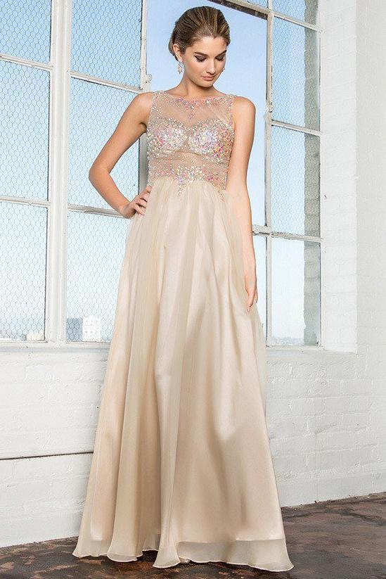 Long Unique Prom Dresses With Illusion Neckline GSGL2093-Sale-smcfashion.com