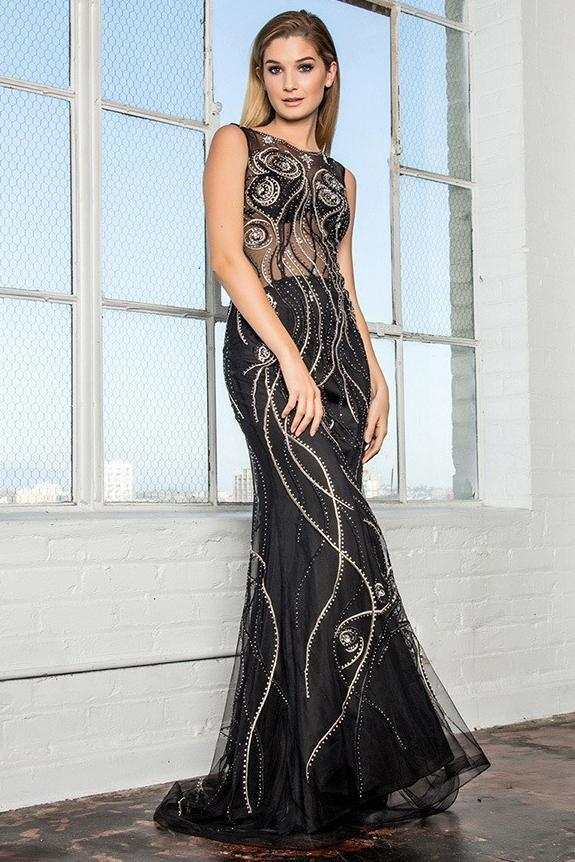 Long Evening Gown with Illusion Neckline GSGL2149-Sale-smcfashion.com