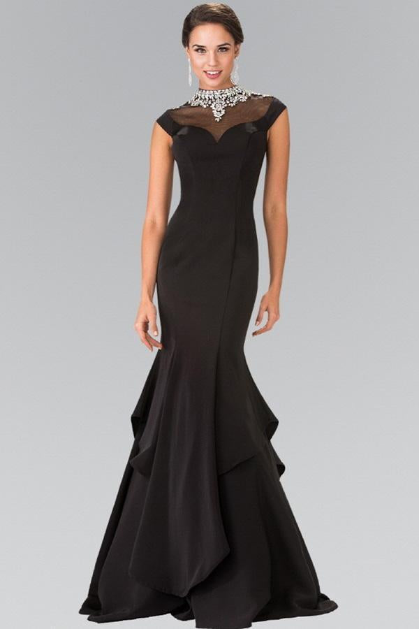 Elegant Long Gown Gowns With Illusion Neckline GSGL2242-Long Dresses-smcfashion.com