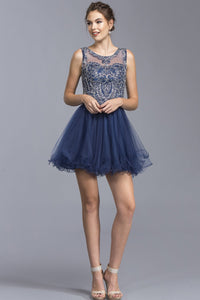 Illusion Party Cute Short Dresses WIth Open Back APS1929-Homecoming Dresses-smcfashion.com