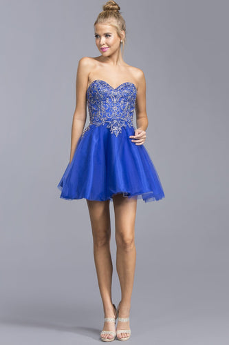 Sweetheart Party Wholesale Short Dresses With Tracery APS2040-Party Dresses-smcfashion.com
