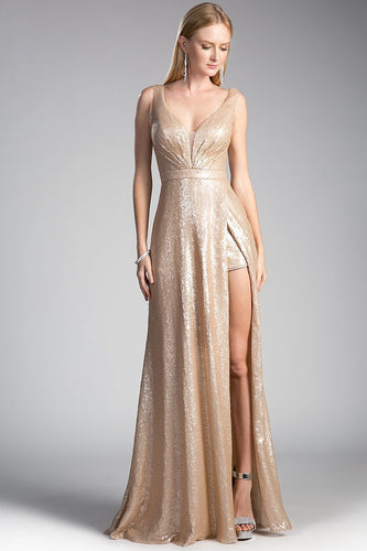 Sexy V Neckline Elegant Evening Dresses CDCH565-Long Dresses-smcfashion.com
